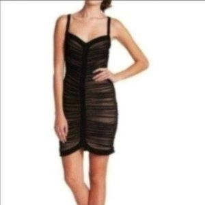 BCBGMaxazria Black Ruched Bodycon Mini Dress XS